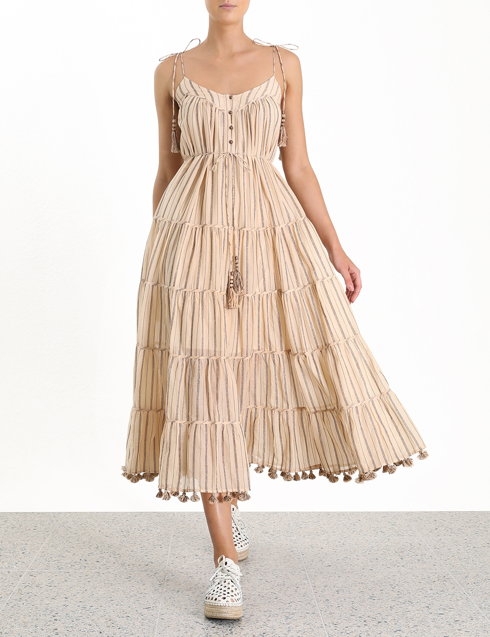 Suraya Bronze Stripe Tie Dress