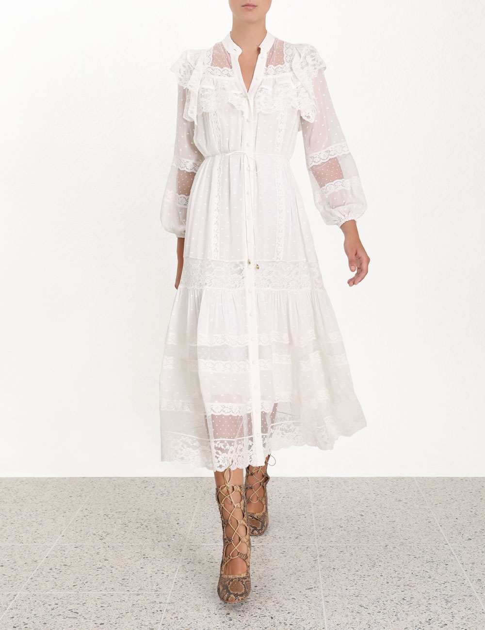 Moncur Lace Yoke Dress