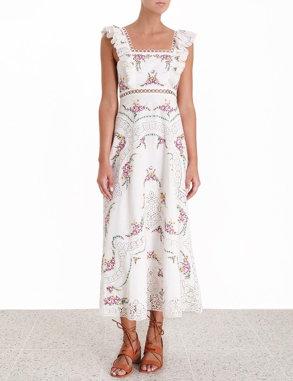 Allia Cross Stitch Long Dress