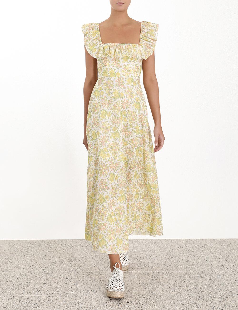 Goldie Ruffle Neck Long Dress