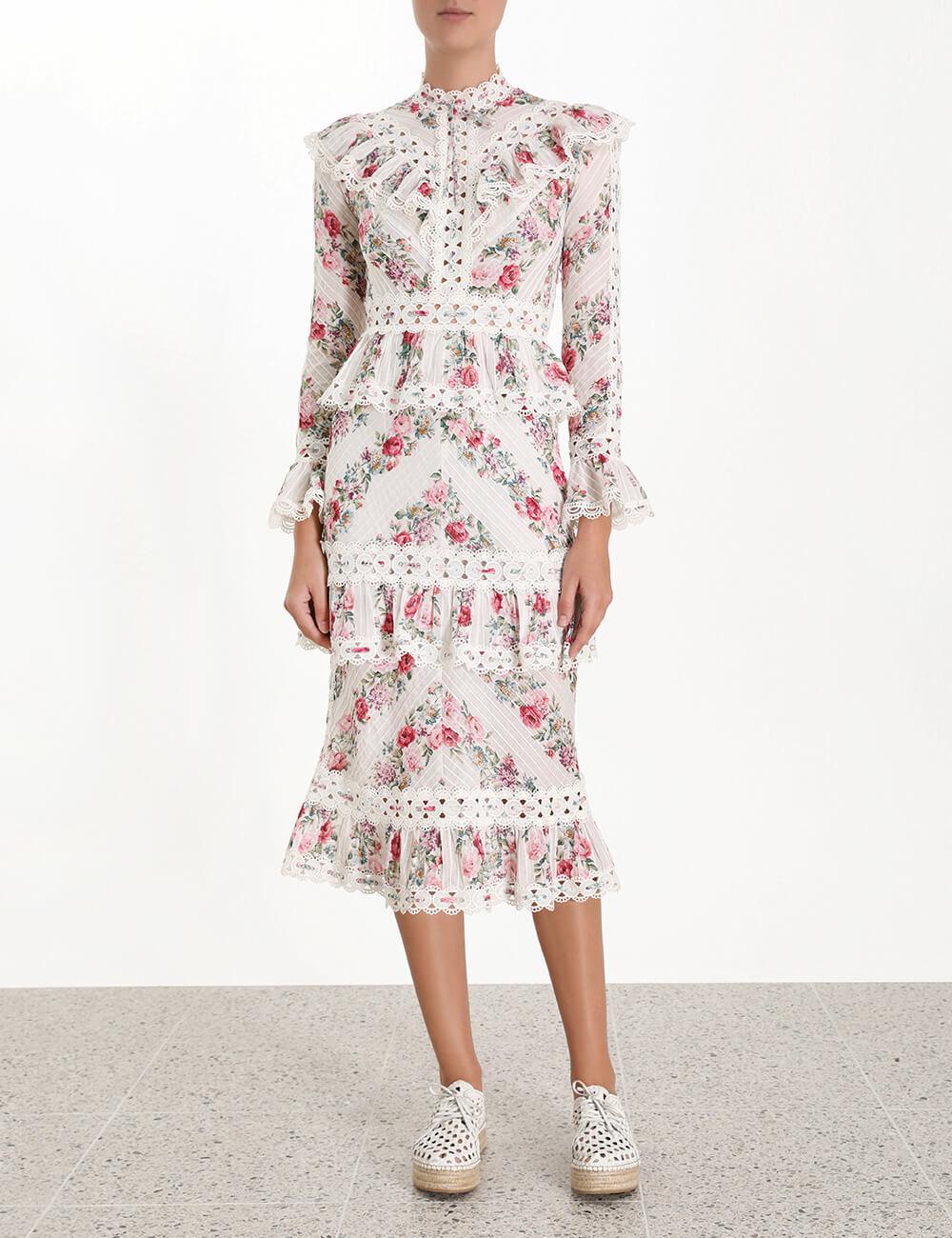 Honour Pintuck Panelled Dress