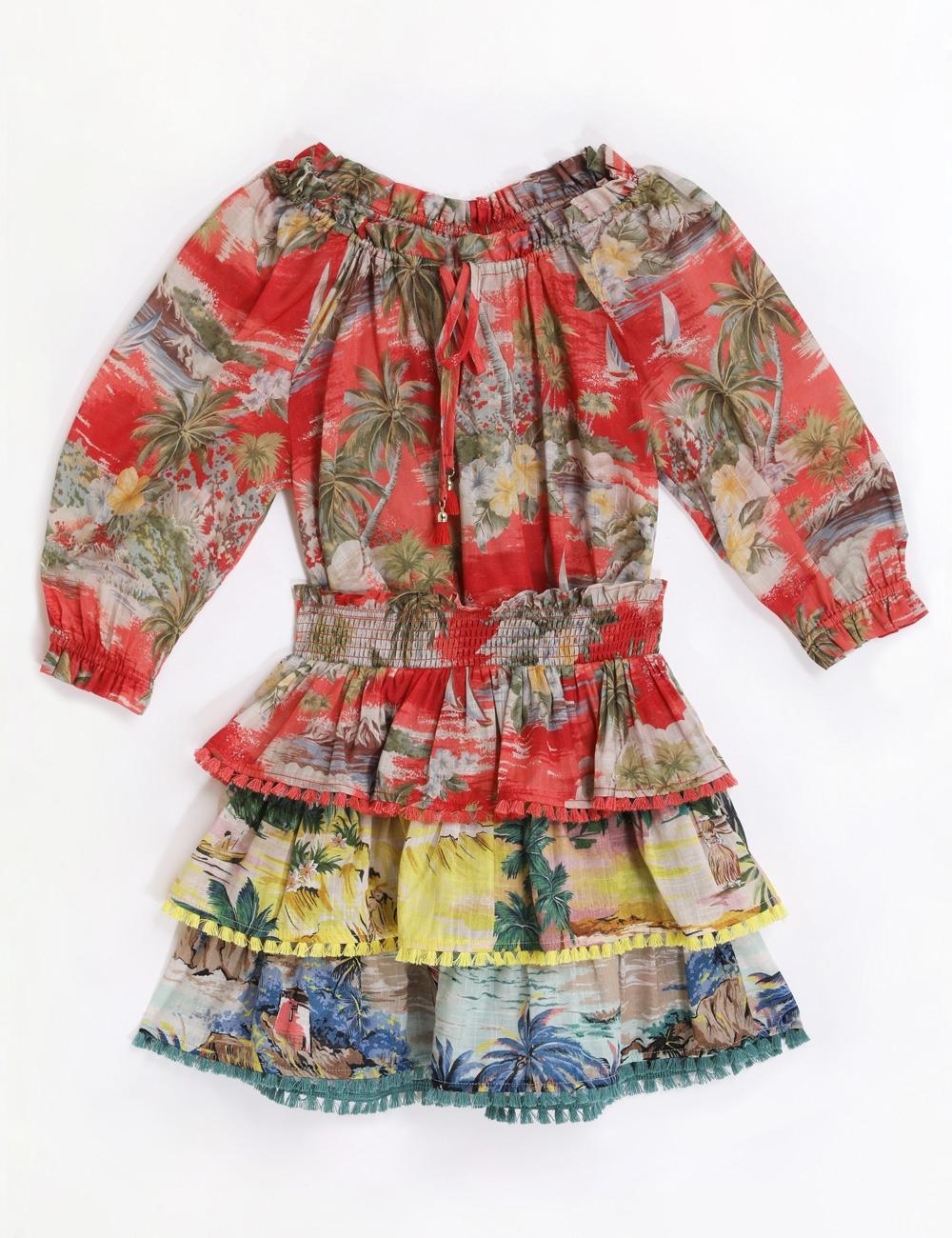 Juliette Shirred Tiered Skirt