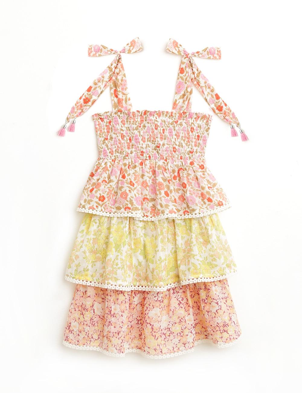 Goldie Shirred Tiered Dress