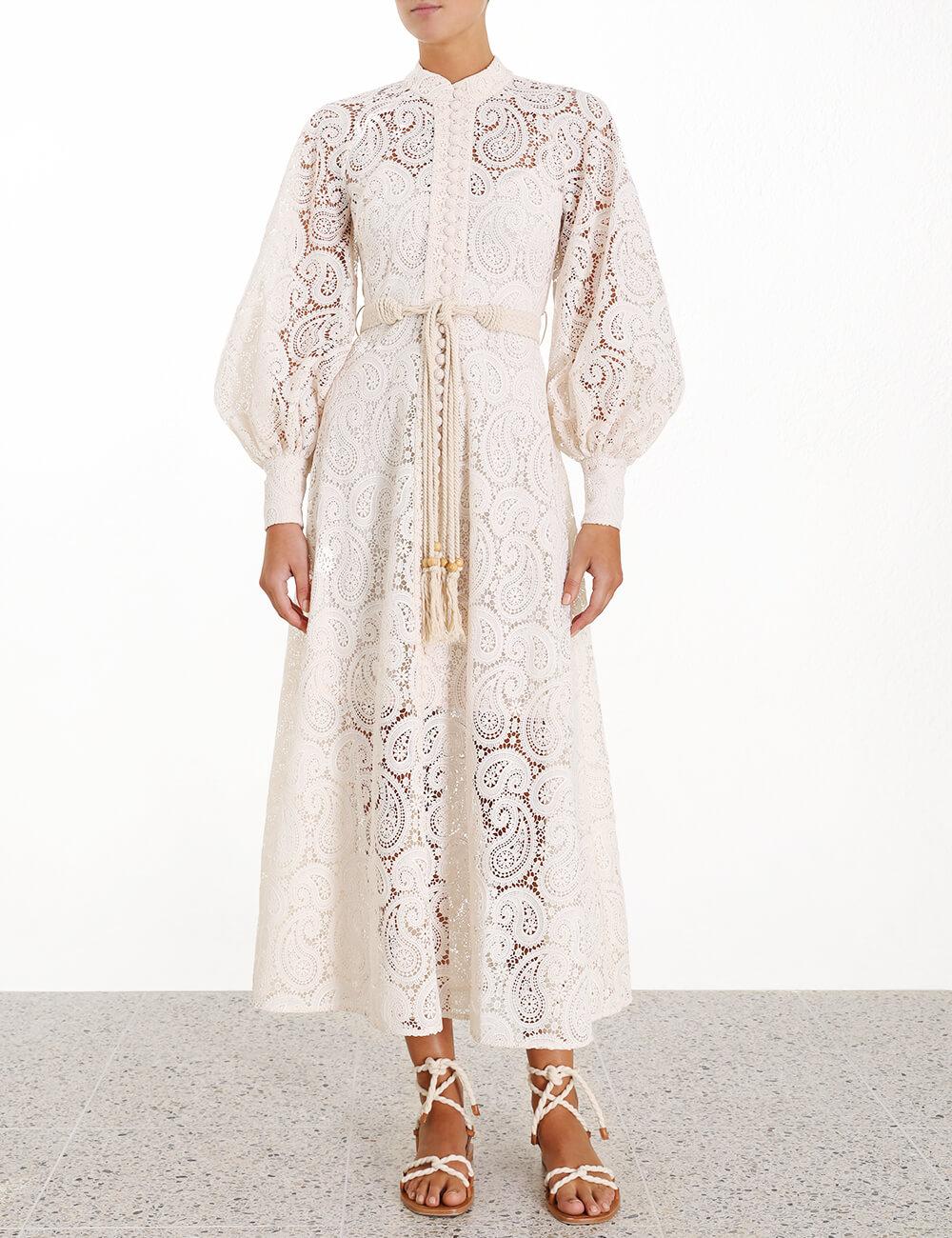 Amari Paisley Lace Long Dress