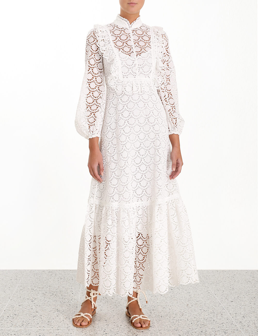 Goldie Scallop Lace Long Dress