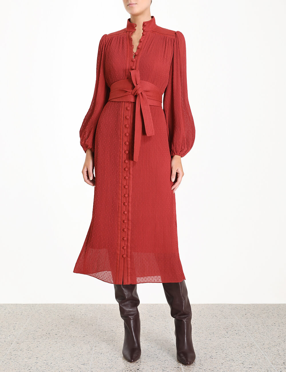 Espionage Plisse Midi Dress