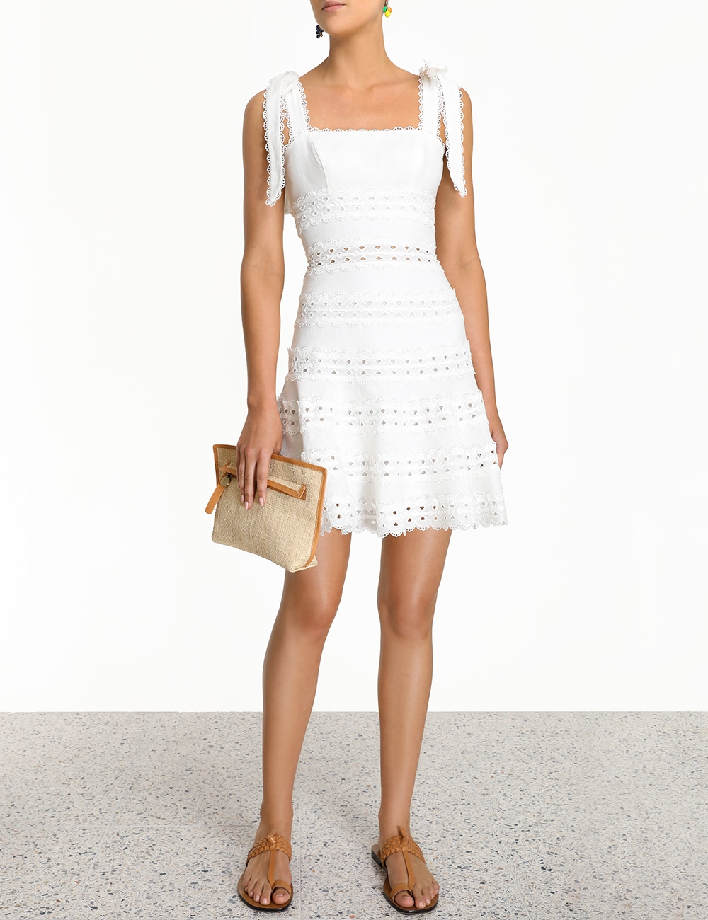 Kirra Tie Shoulder Mini Dress Ivory