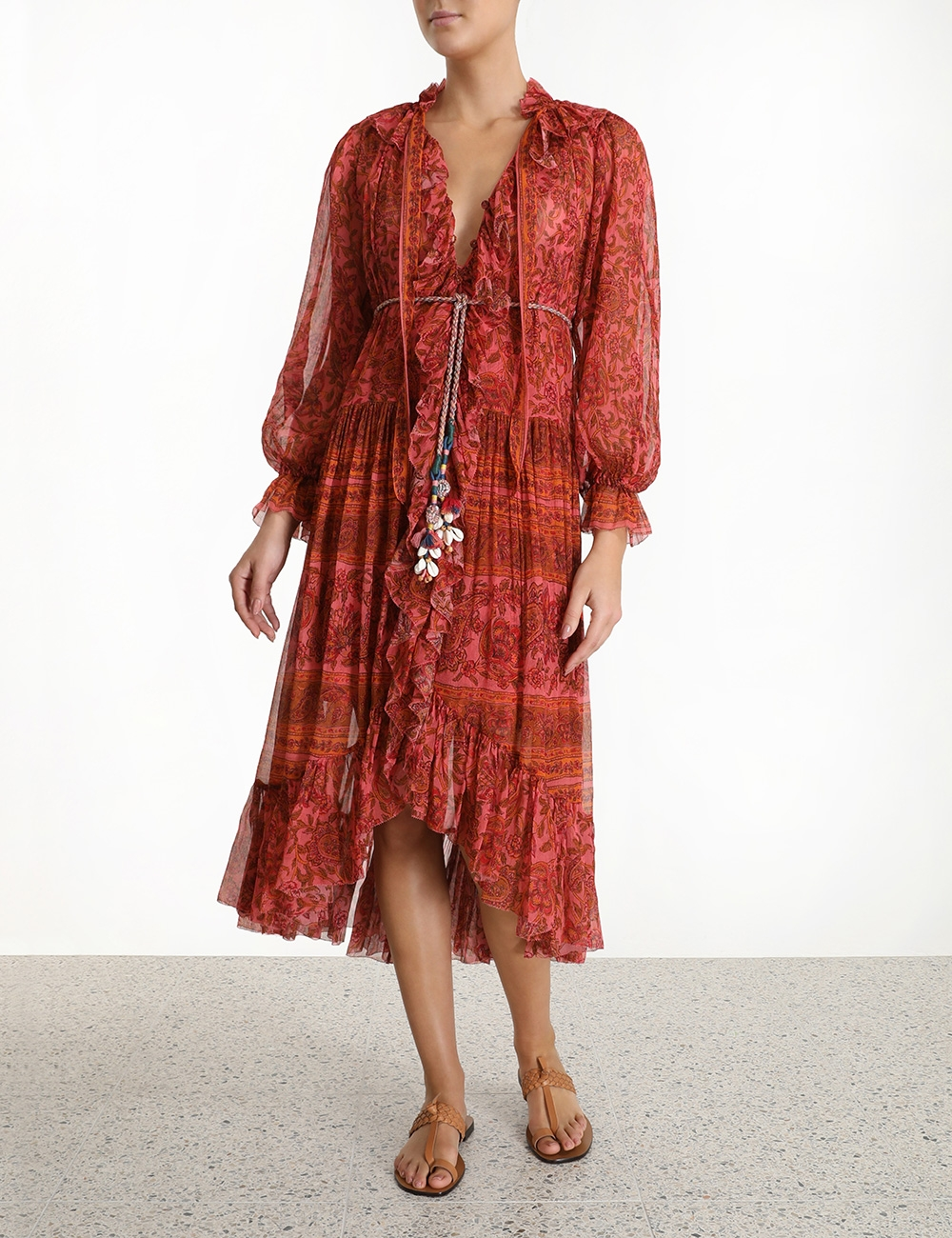 Edie Ruffle Long Robe Dress