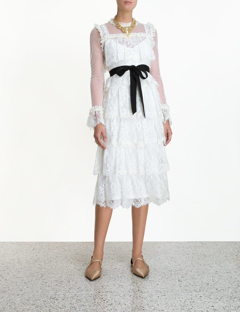 Wavelength Lace Frill Midi