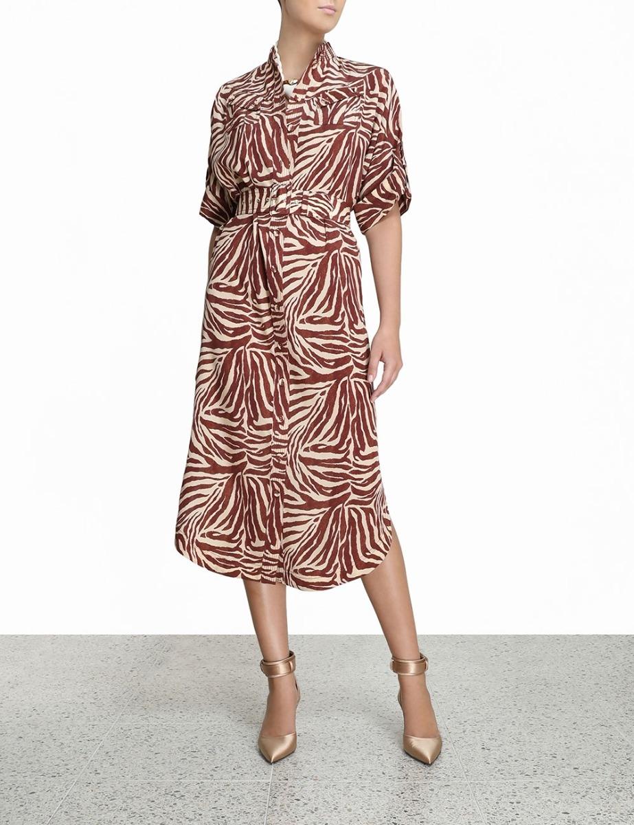 Silk Utility Midi Dress