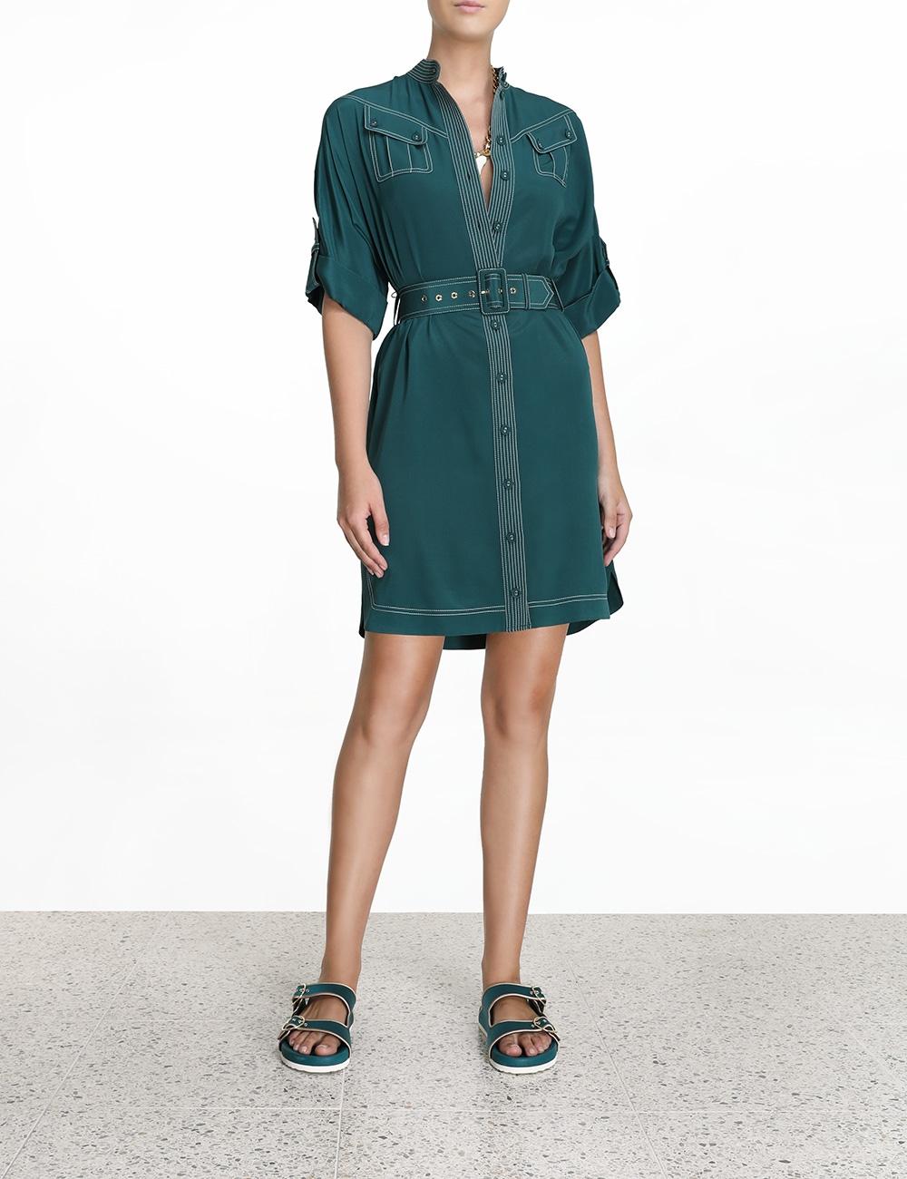 Silk Utility Mini Dress