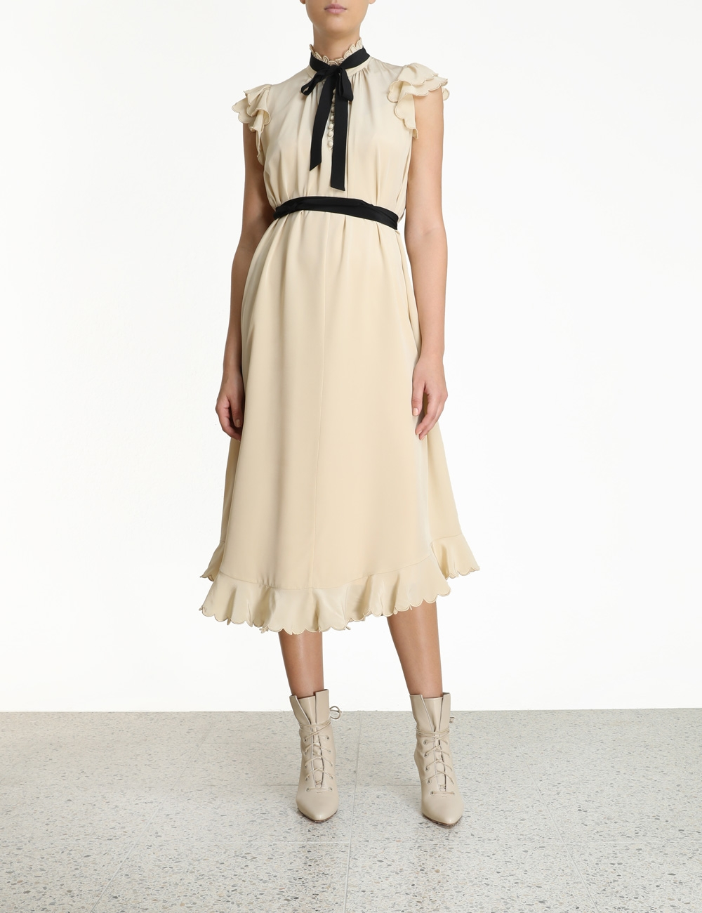 Silk Scallop Sleeveless Midi