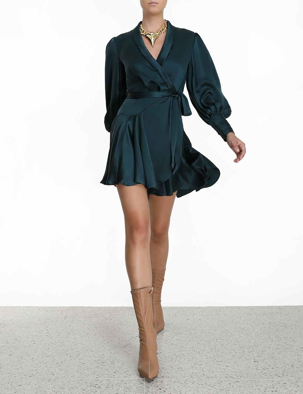 Silk Wrap Mini Dress