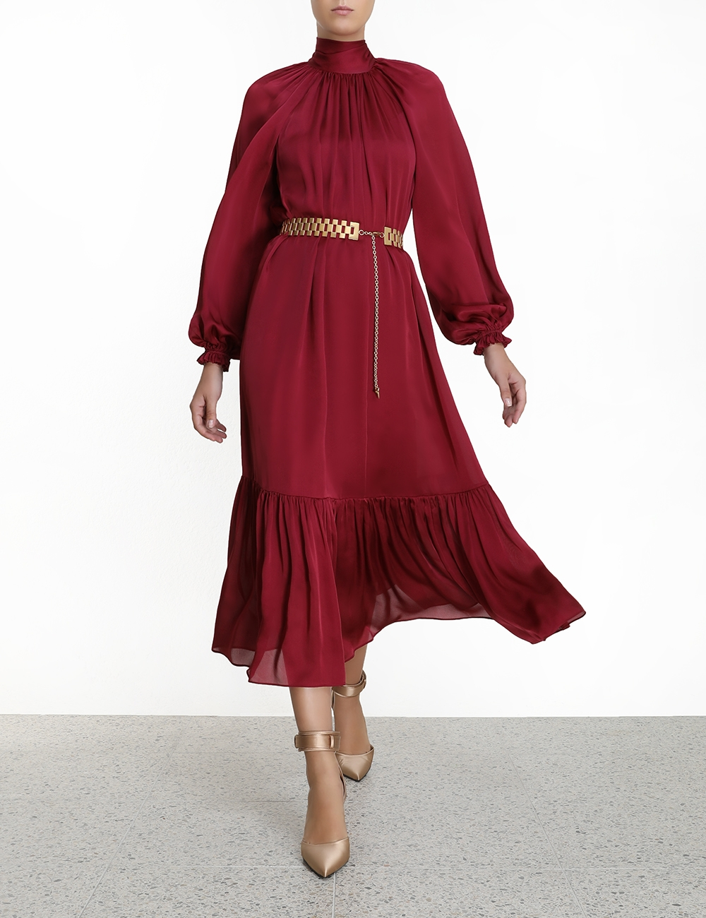 Gathered Bow Long Sleeve Dress