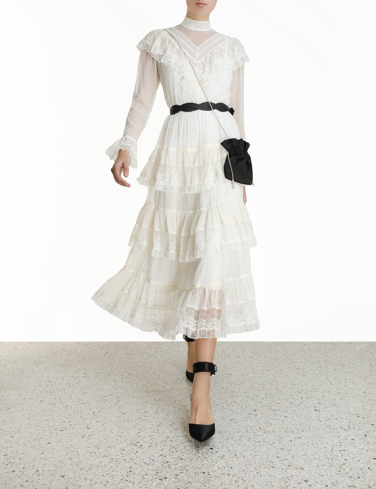 Glassy Frilled Lace Midi Dress
