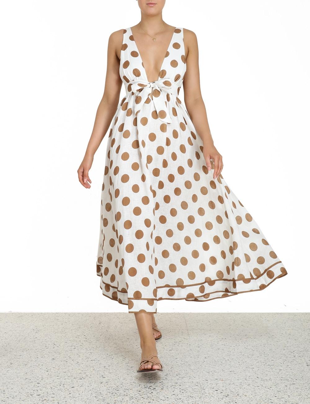 Empire Tie Front Long Dress