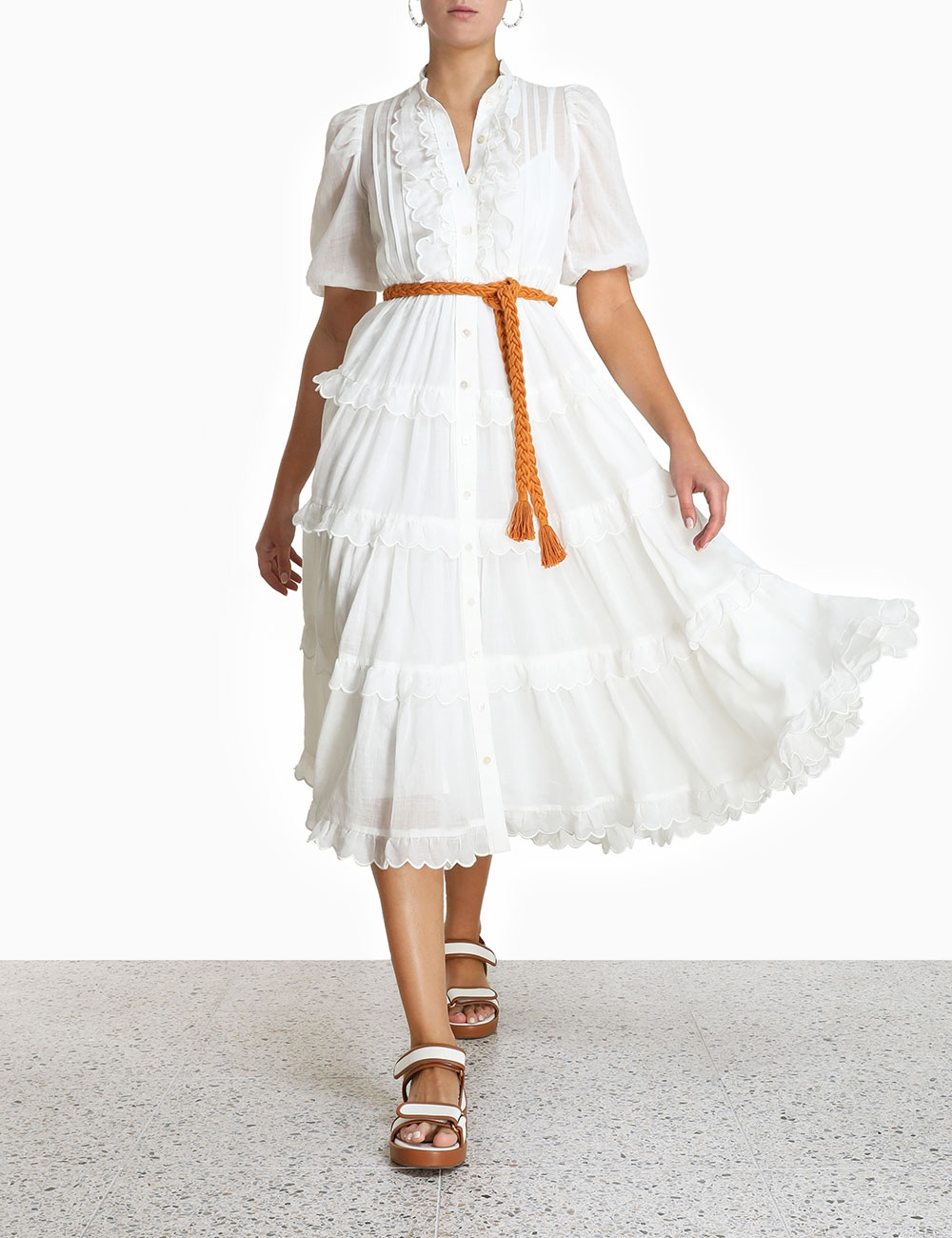 Amelie Scallop Frill Dress