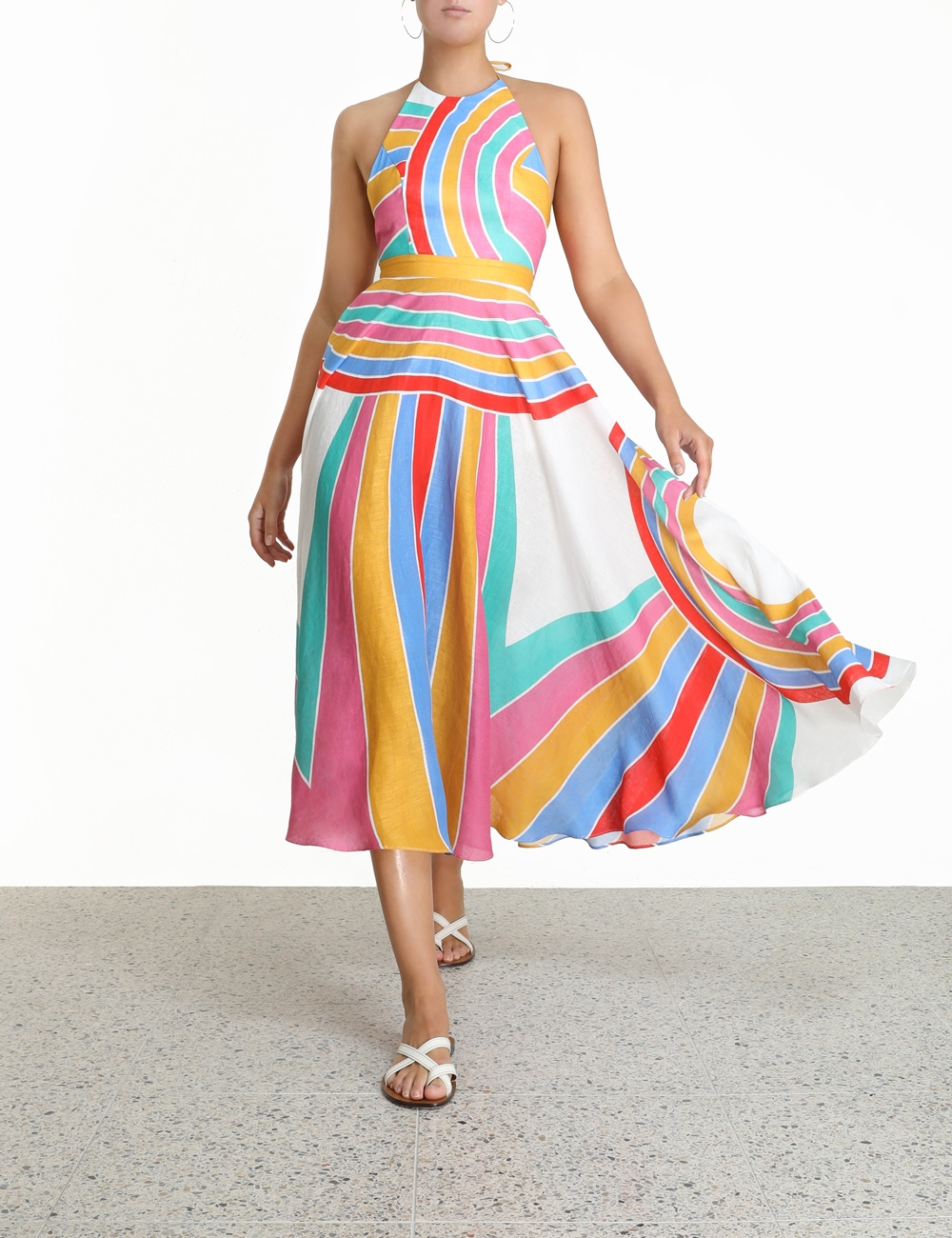 Fiesta Rainbow Halter Dress