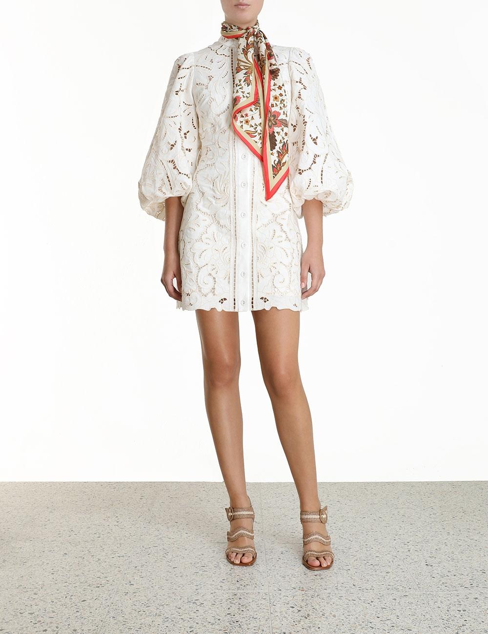 Empire Broderie Short Dress