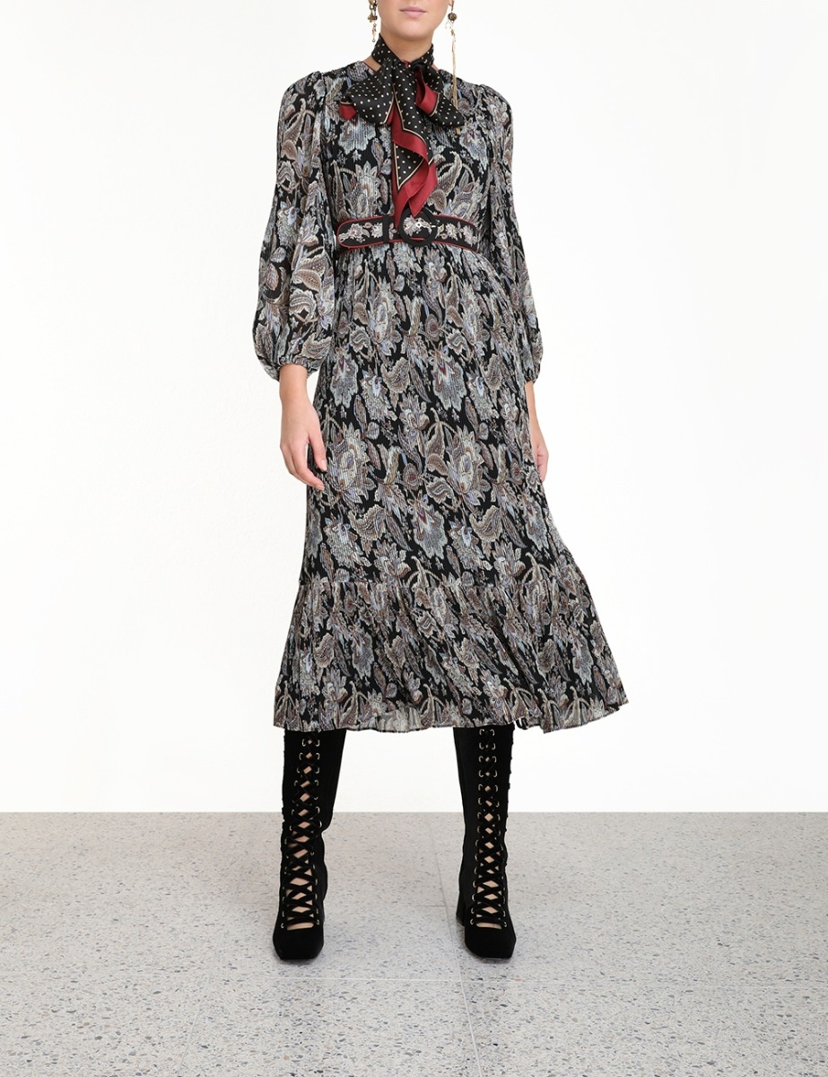 Ladybeetle Pleated Midi Dress