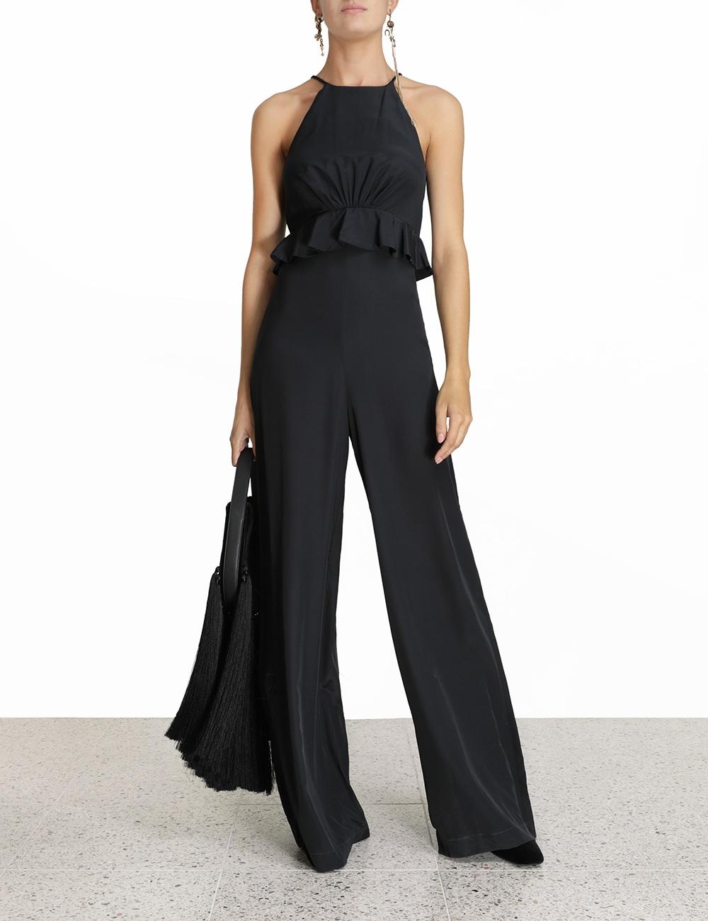 Silk Flounce Jumpsuit