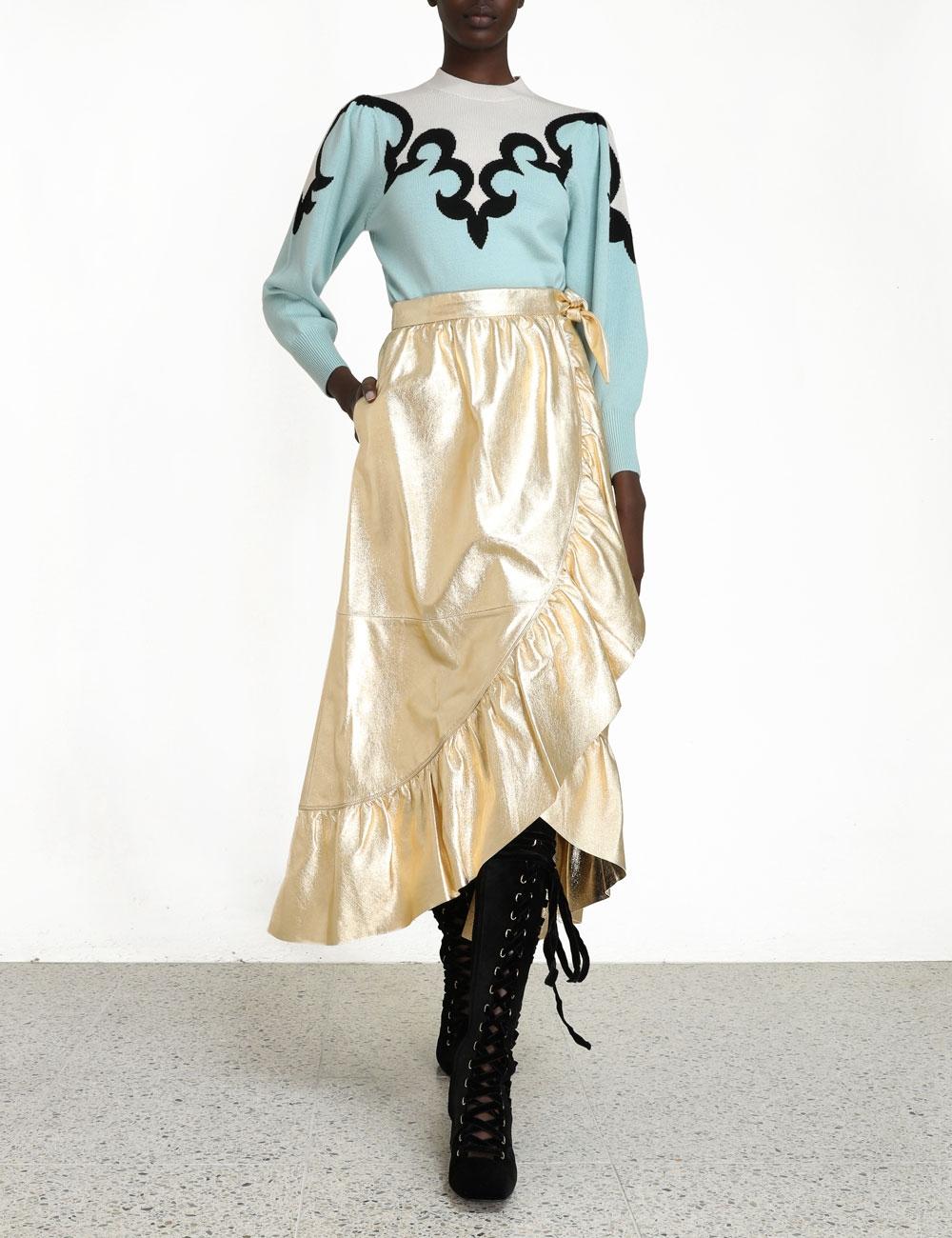 Ladybeetle Gold Leather Skirt
