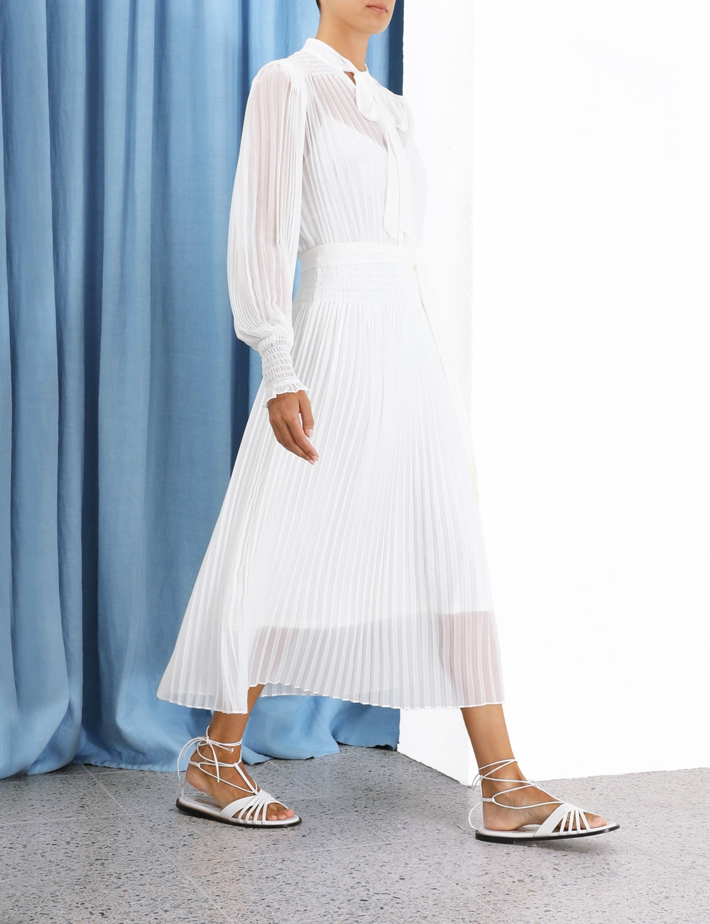 Shirred Pleat Midi