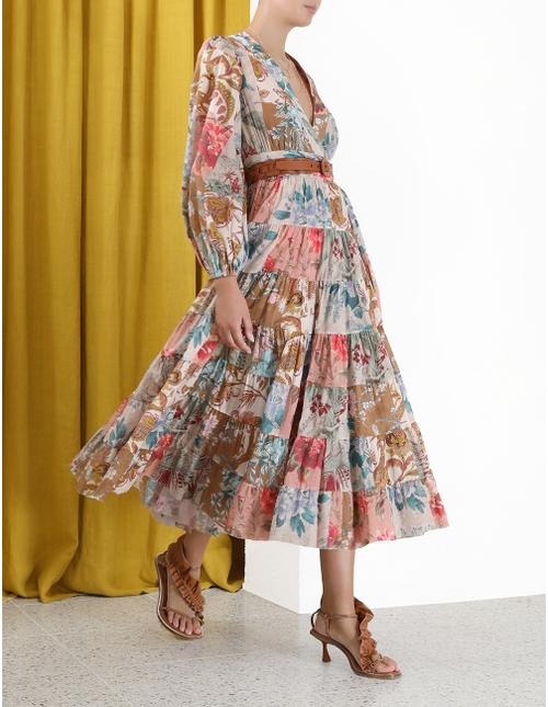 Cassia Patch Wrap Midi Dress