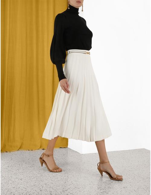 Crepe Pleated Midi Skirt