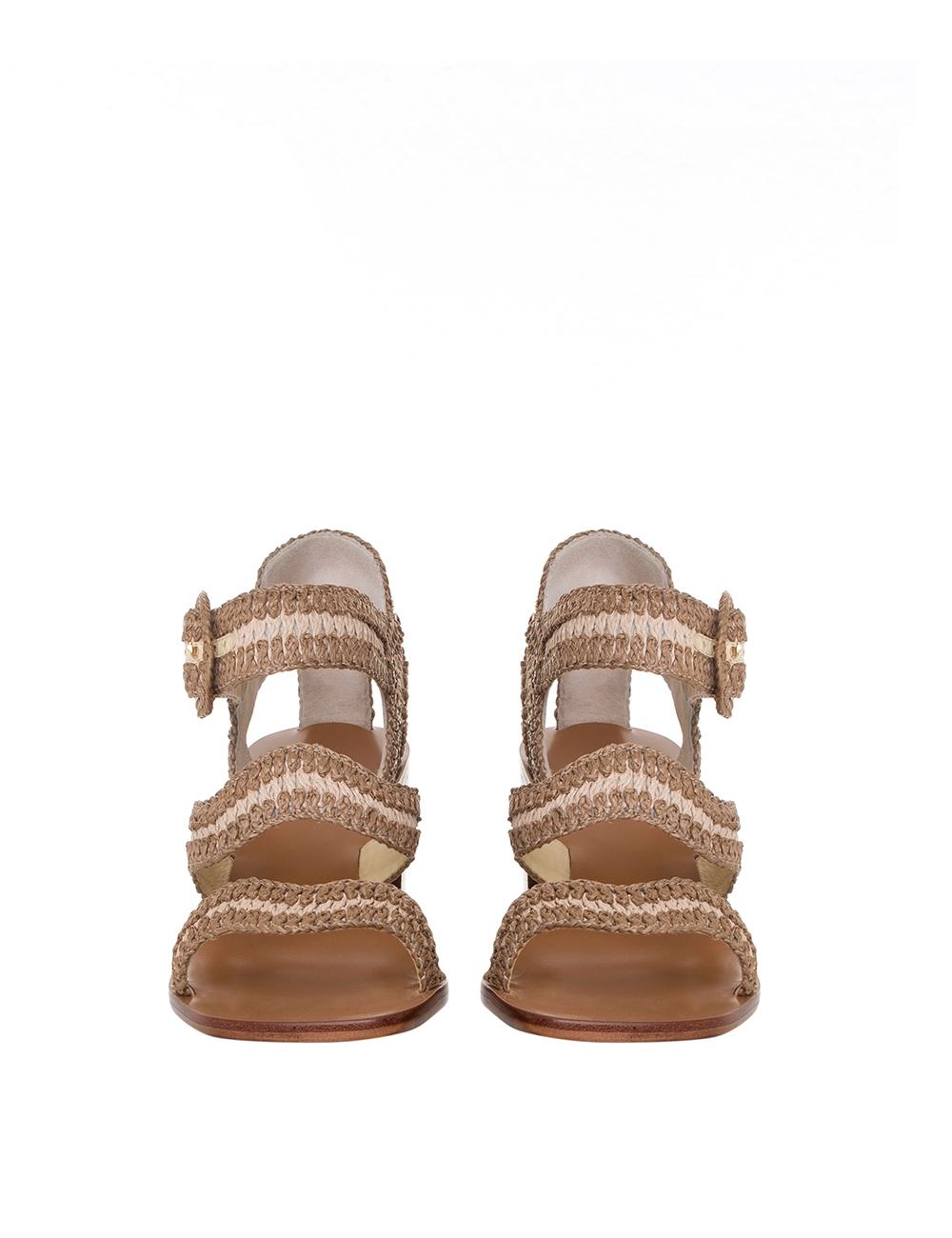 Wavy Raffia Heeled Sandal