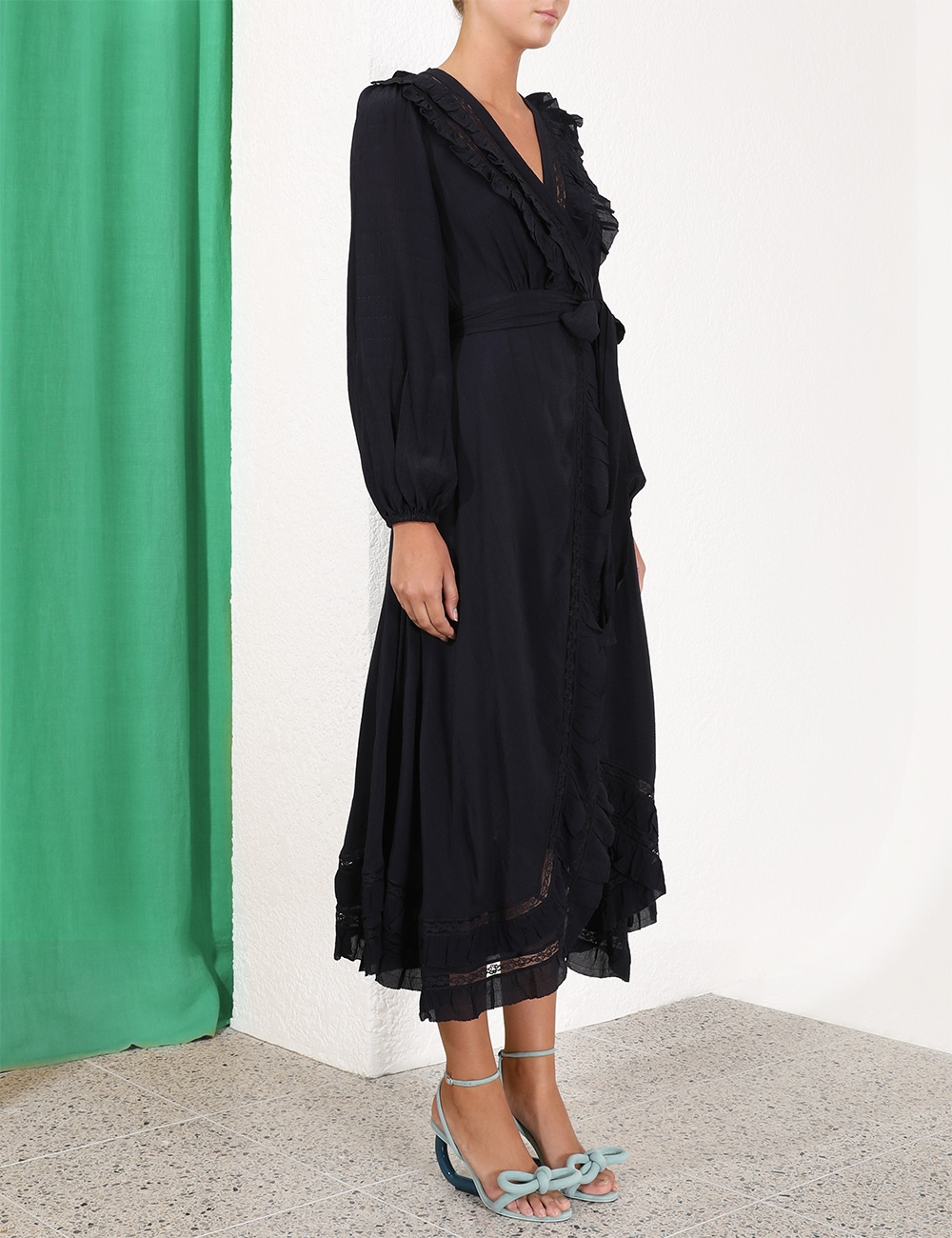 Moncur Frill Wrap Dress
