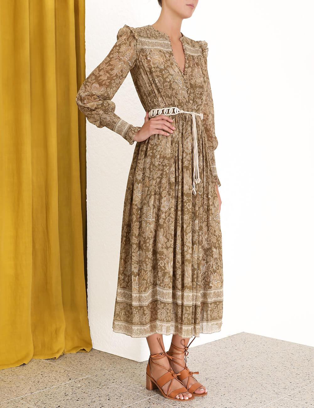 Veneto Shirred Paisley Dress