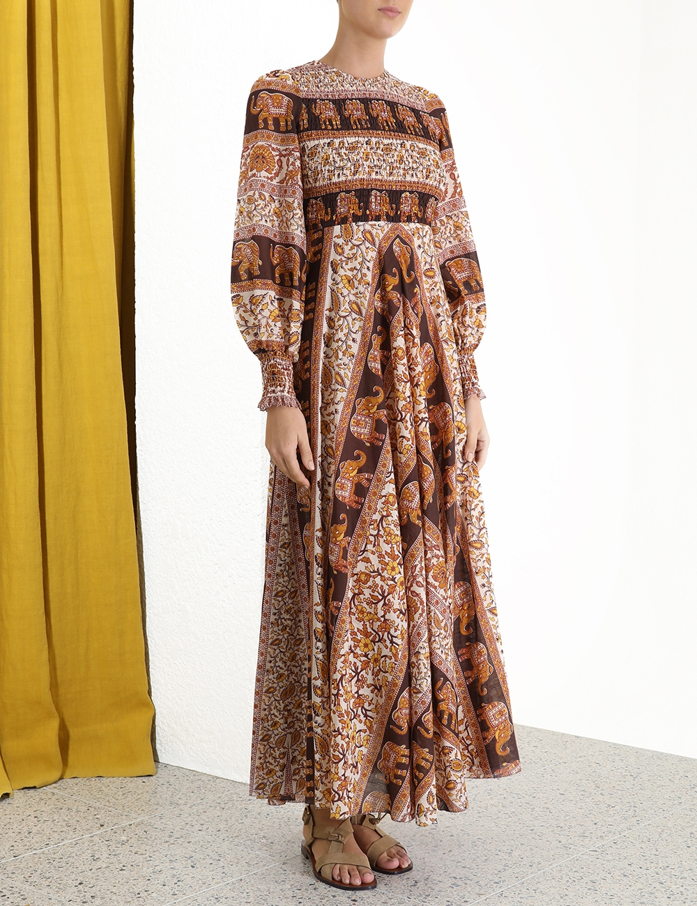 Suraya Shirred Chevron Dress