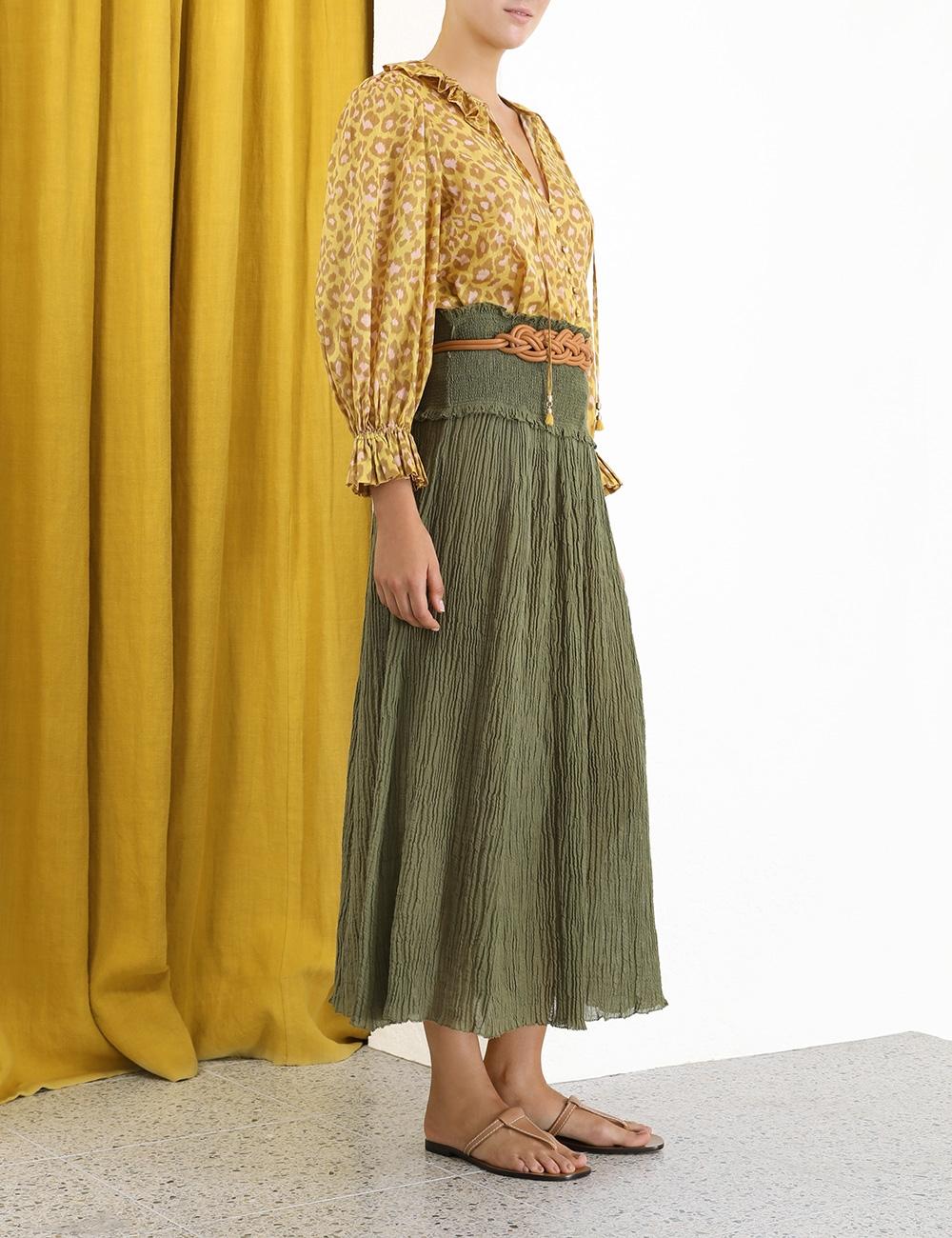 Empire Shirred Hip Skirt