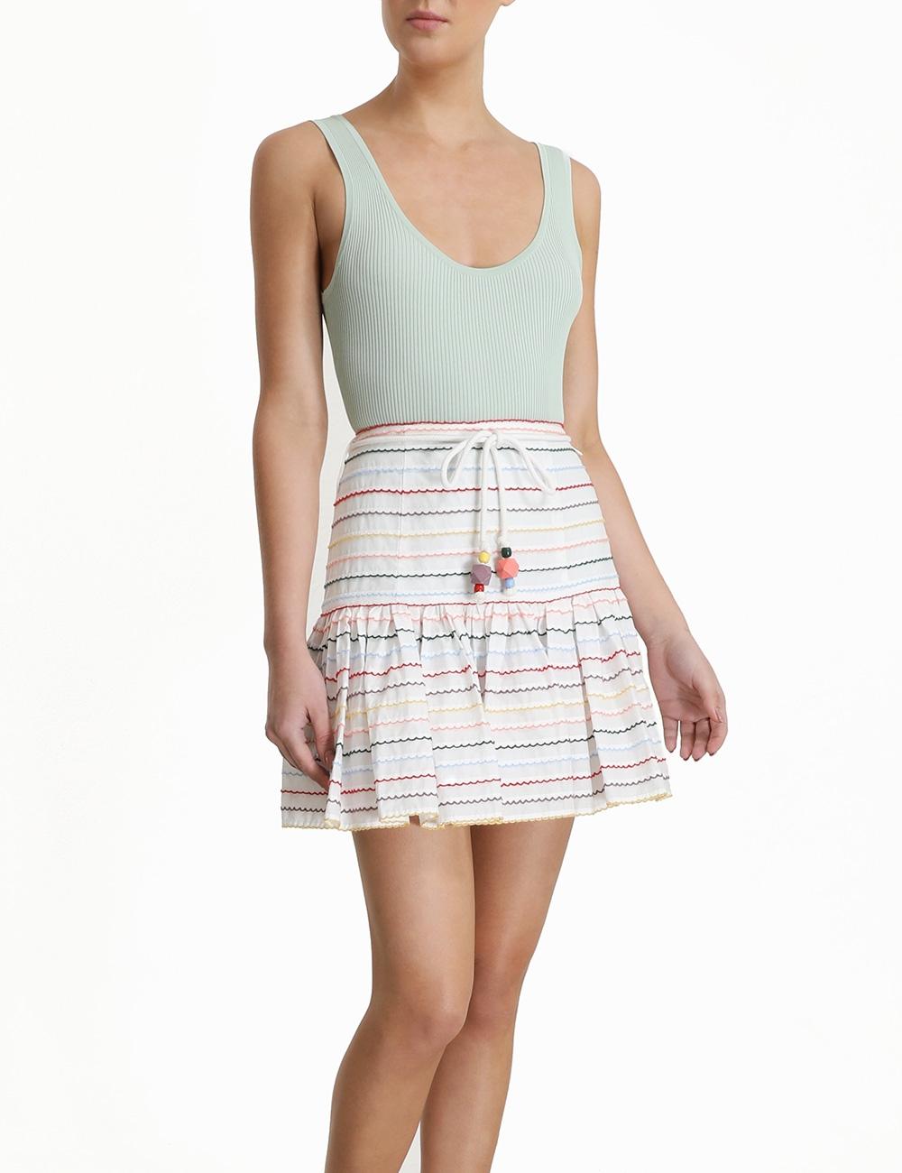 Zinnia Scallop Stripe Skirt