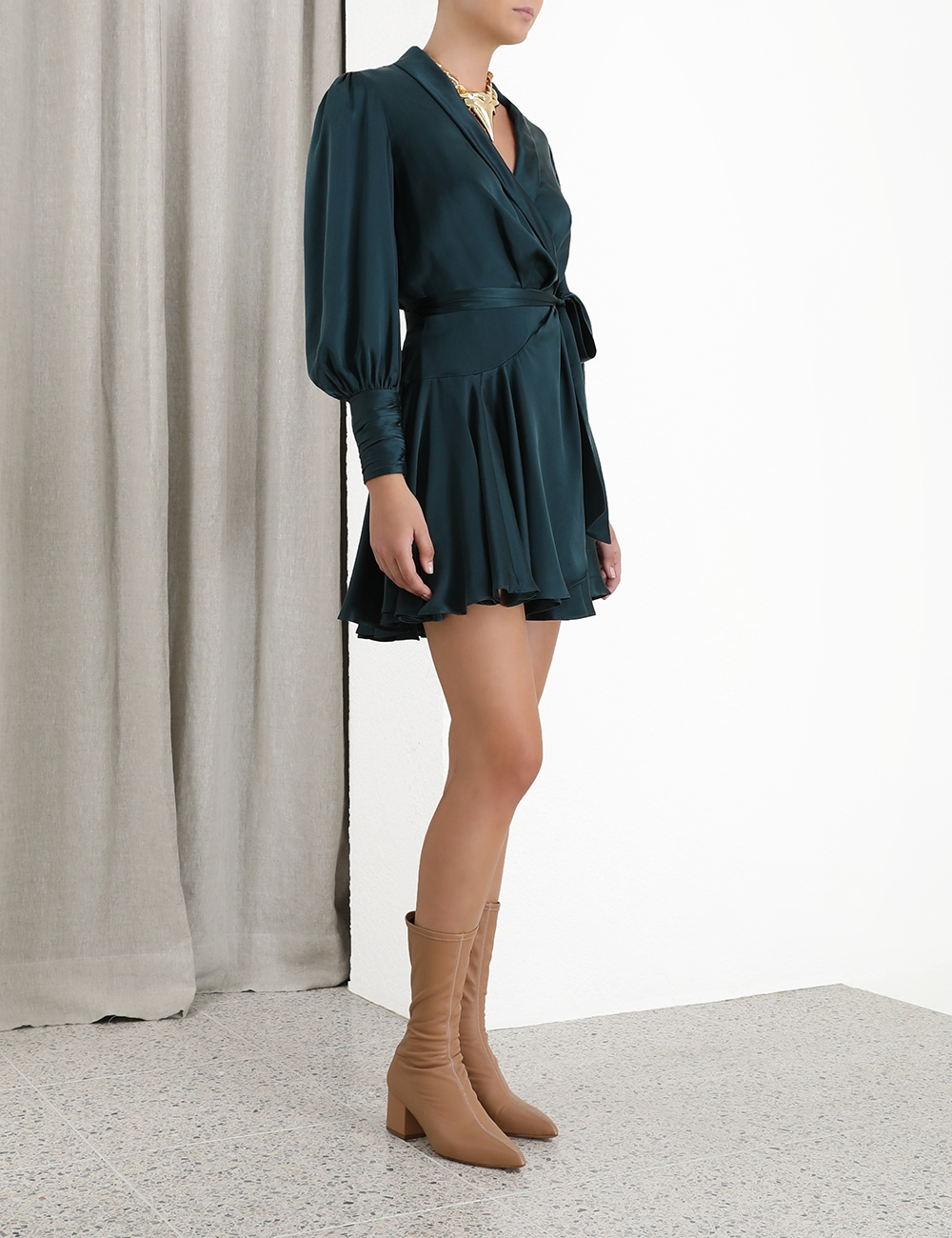Silk Wrap Mini Dress