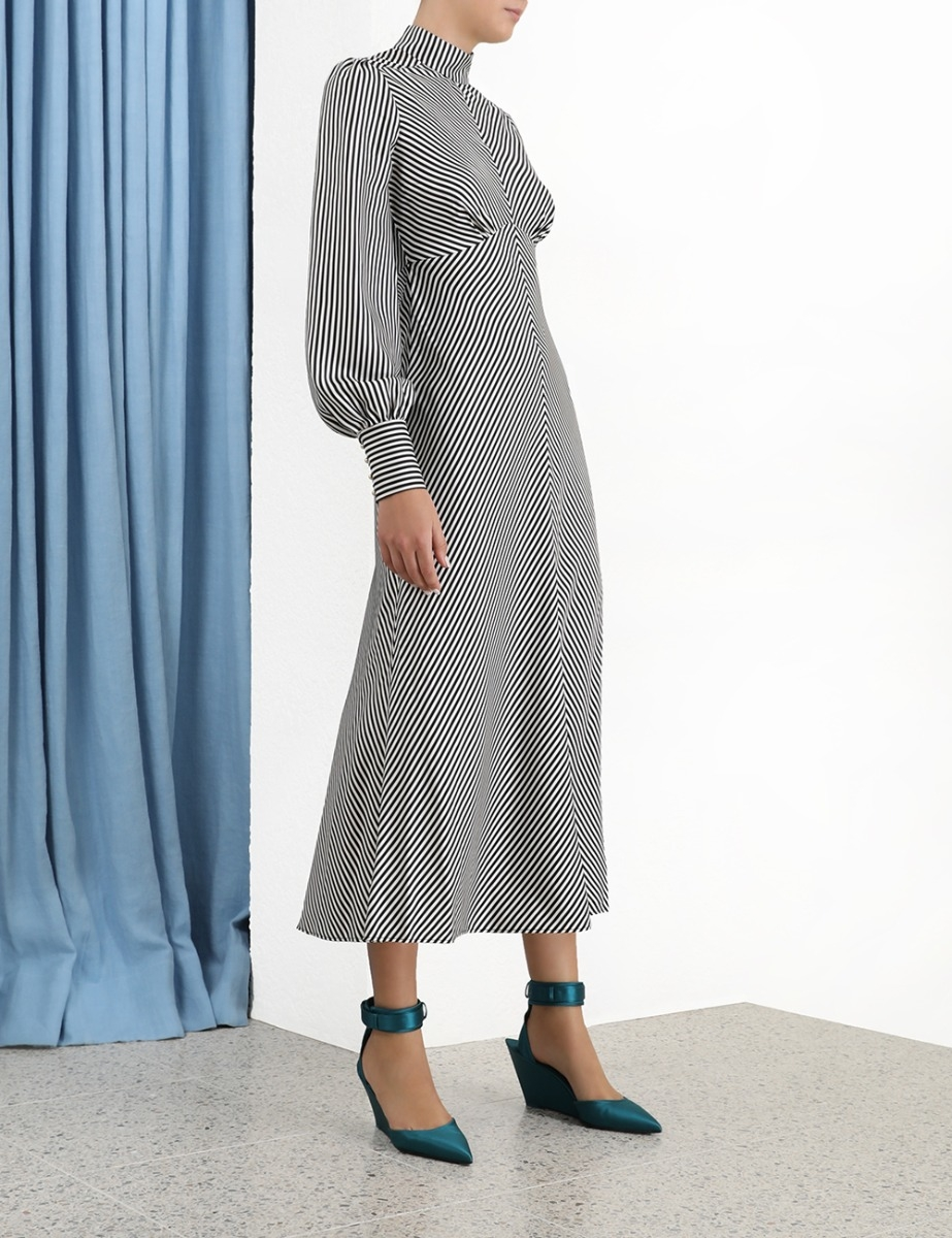 High Collar Midi Dress