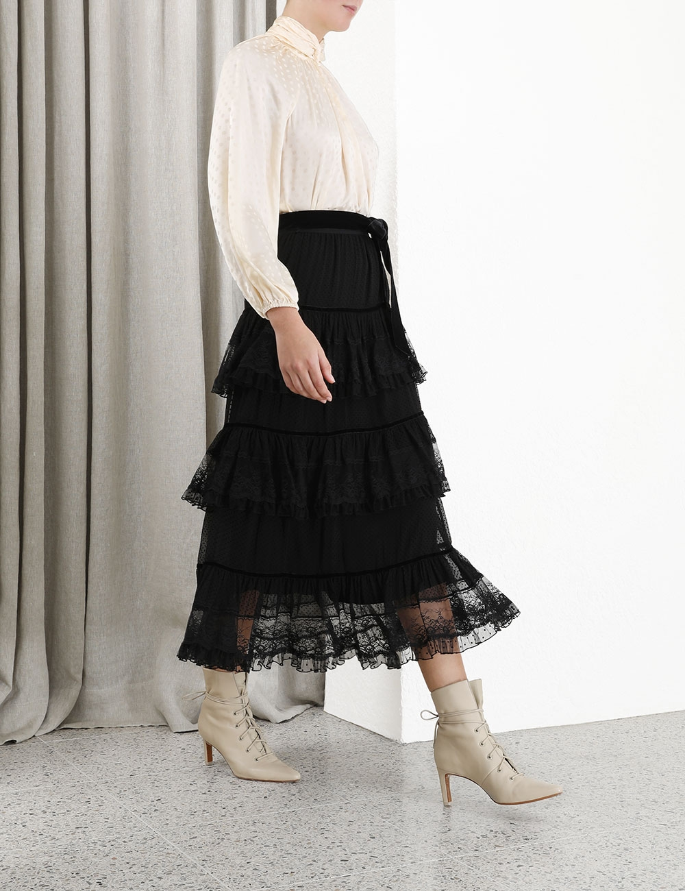 Glassy Frilled Lace Midi Skirt