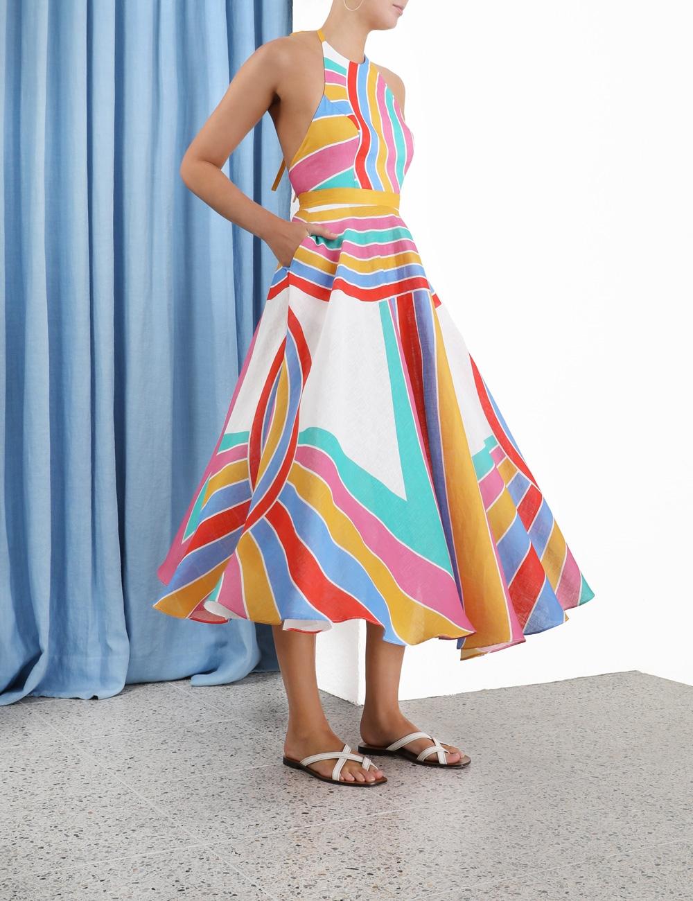 Fiesta Rainbow Halter Dress