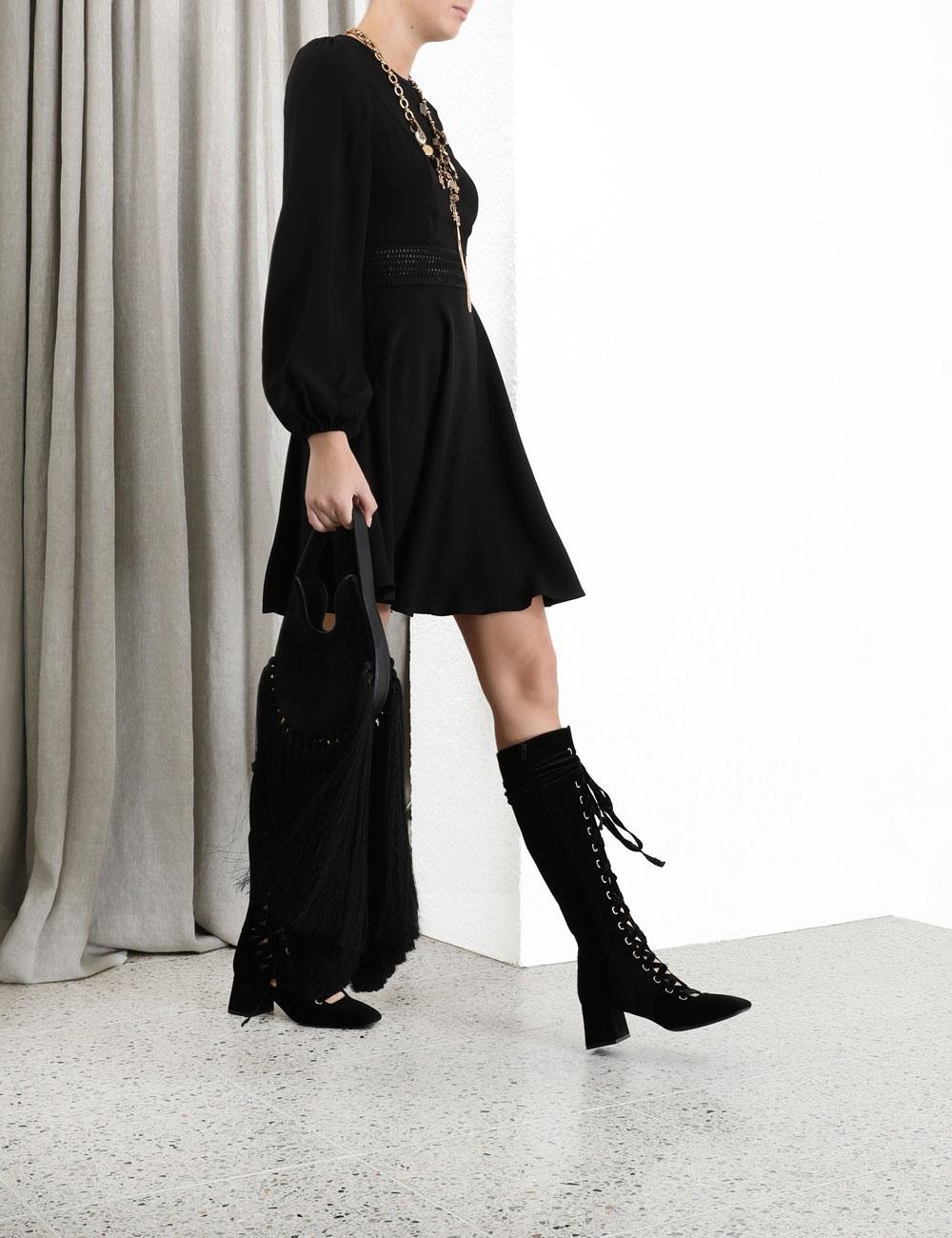 Crepe Lattice Mini Dress