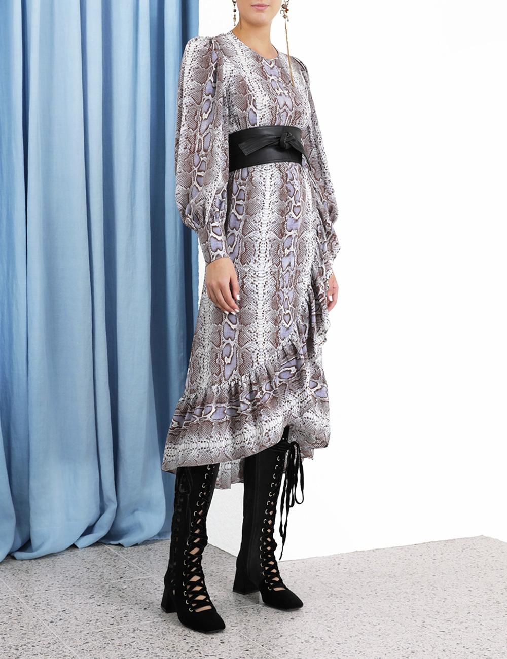 Silk Ruffle Wrap Dress
