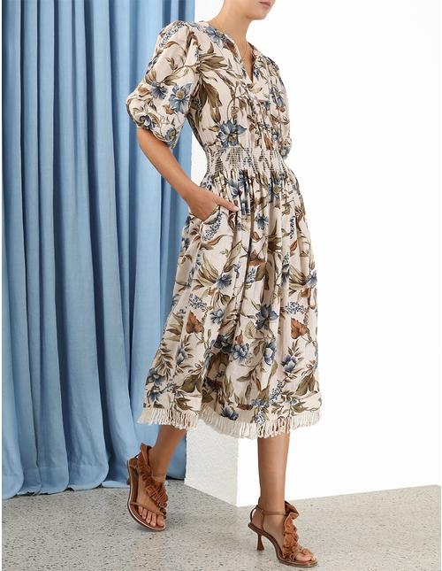 Aliane Shirred Waist Dress