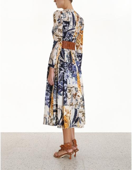 Aliane Patchwork Midi Dress