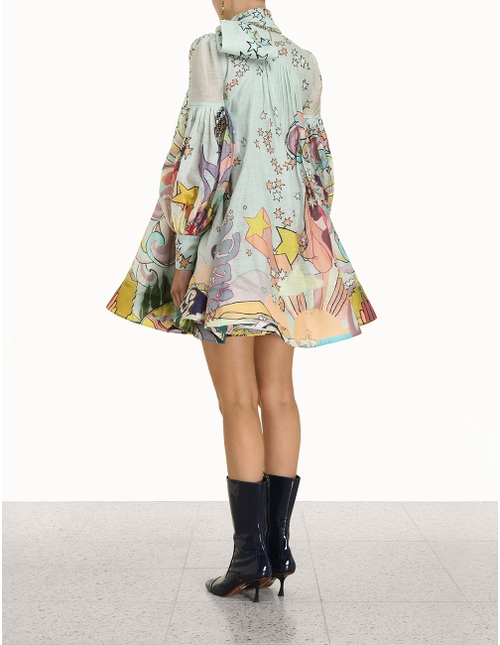 Concert Tie Neck Mini Dress