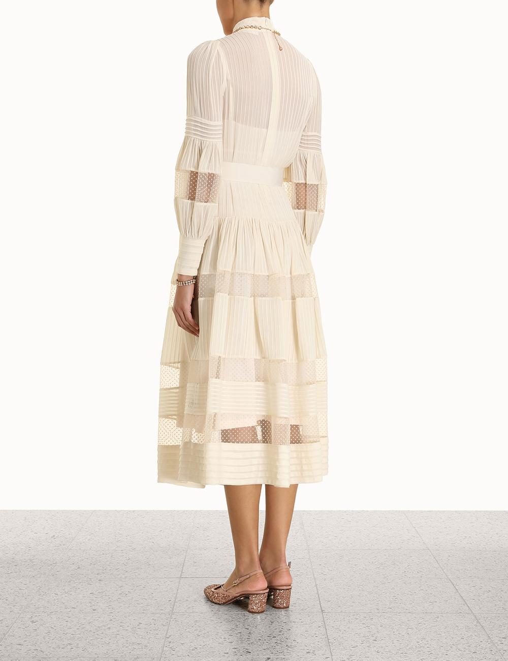 Spliced Mesh Midi Dress