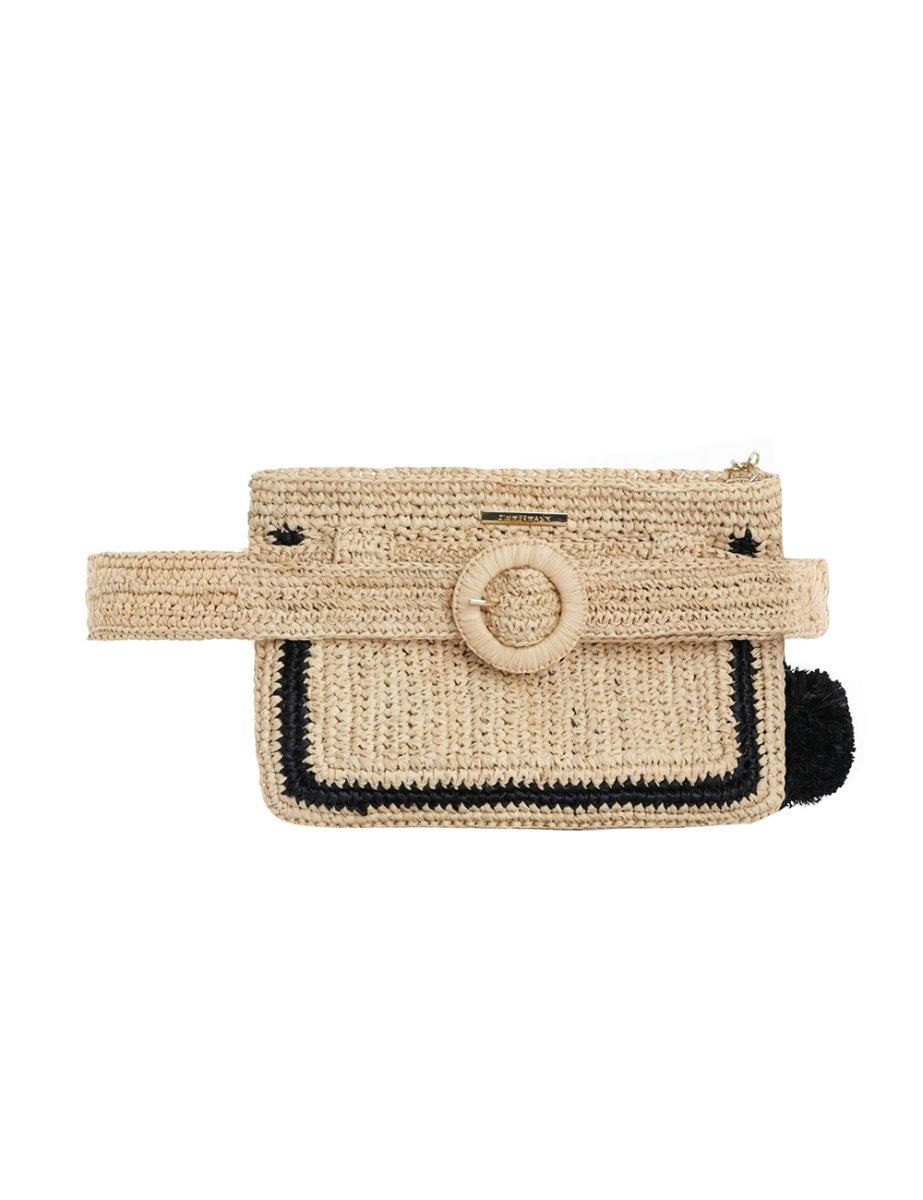 Raffia Stripe Belt Bag