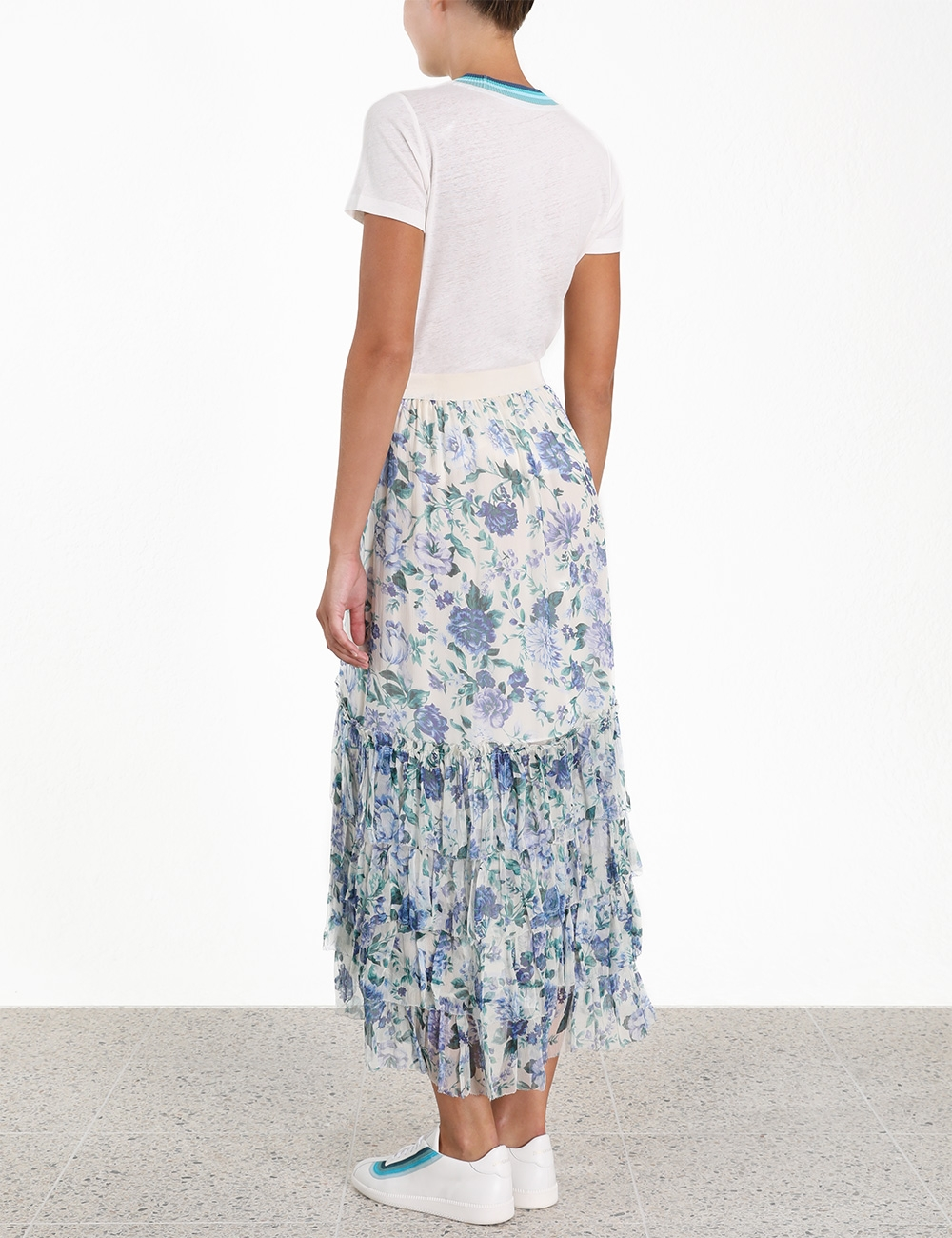 Moncur Chevron Frill Skirt