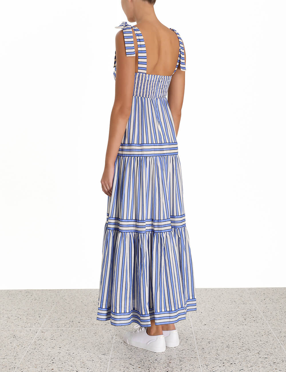 Verity Stripe Tiered Tie Dress