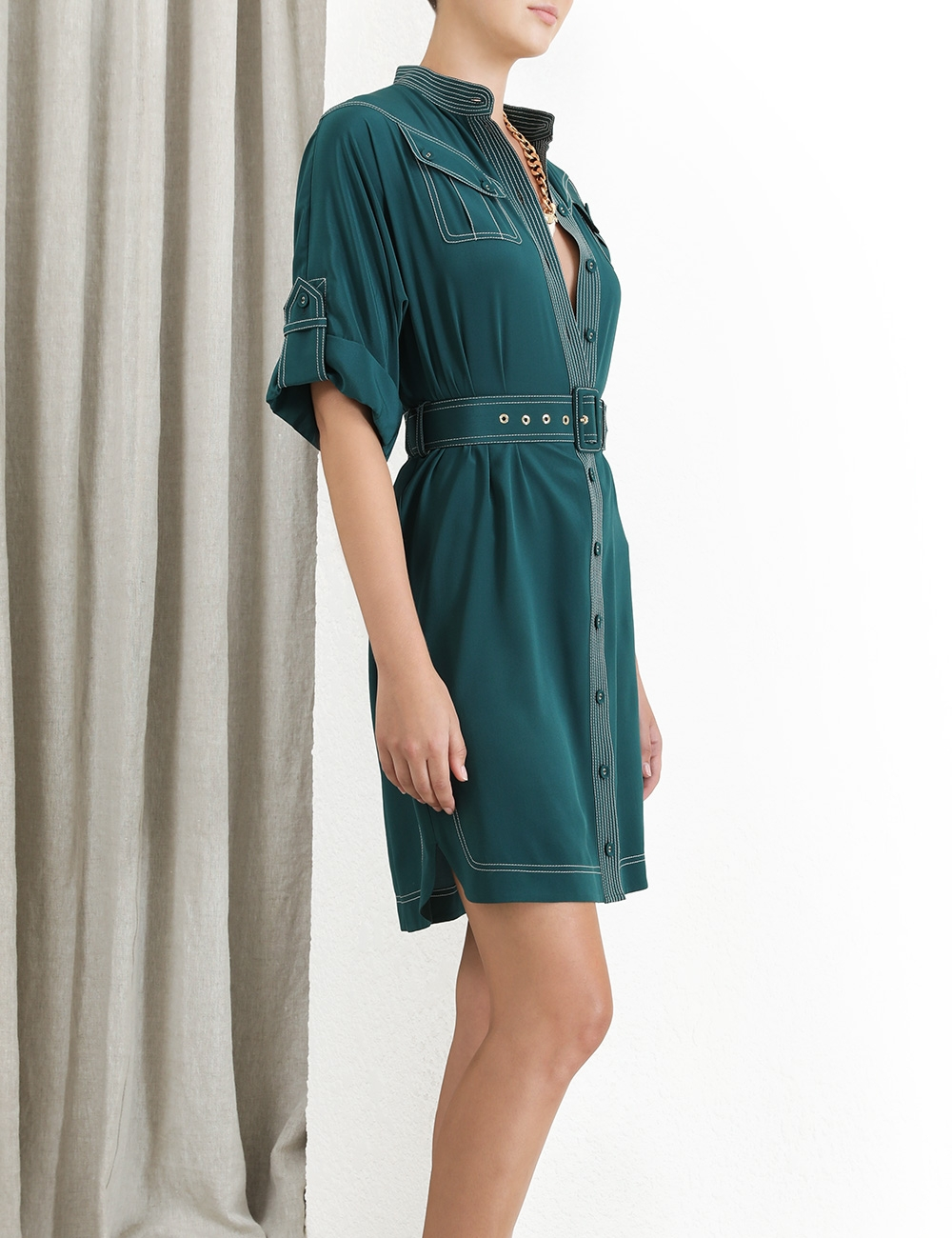 Silk Utility Mini Dress