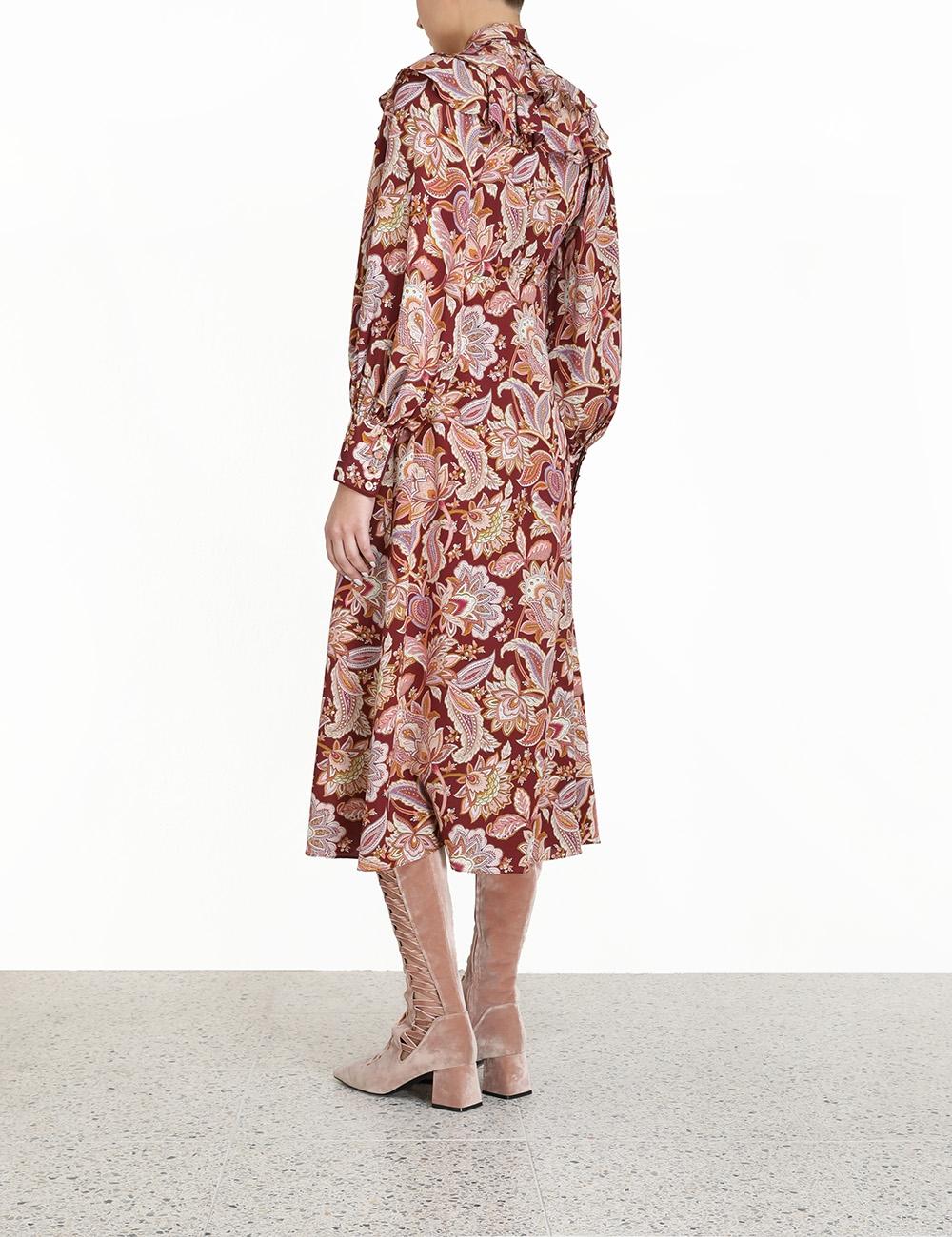 Charm Fringe Scarf Midi Dress